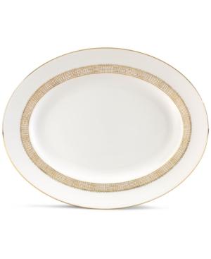 "Vera Wang Wedgwood ""Gilded Weave"" Oval Platter, 13.75"""