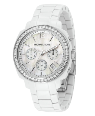 MICHAEL Michael Kors Watch, Women's Chronograph White Acrylic Bracelet MK5079 - Chronograph Watches