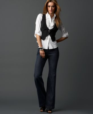INC International Concepts® Three-Quarter Sleeve Shirt with Attached Vest & Wide-Leg Stretch Jeans