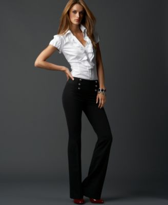 INC International Concepts® Ruffled Puff-Sleeve Blouse & Narrow Boot-Cut Sailor Pants