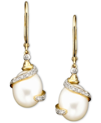 14k Gold Cultured Freshwater Pearl Diamond (1/10 ct. t.w.) Earrings