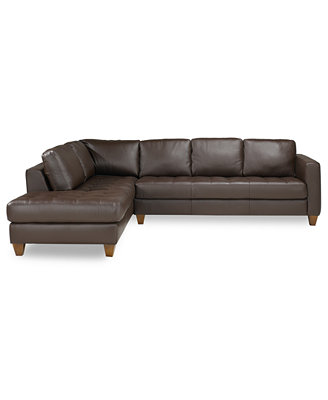 Milano Leather 2-Piece Chaise Sectional Sofa - Furniture ...