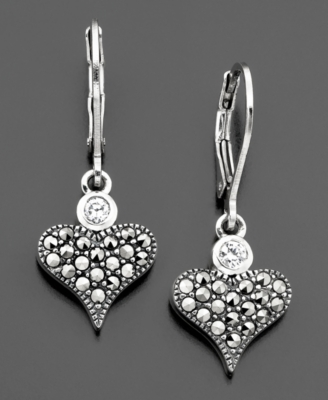 Judith Jack Sterling Silver Cubic Zirconia (1/5 ct. t.w.) & Marcasite Earrings