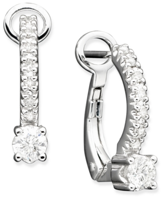 14k White Gold Diamond Hoop Earrings (3/8 ct. t.w.)