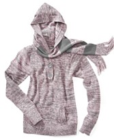 Planet Gold Girls Sweater Hoodie with Pockets and Scarf