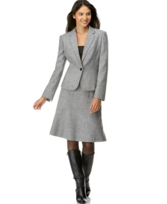 Calvin Klein Plus Size One-Button Tweed Skirt Suit