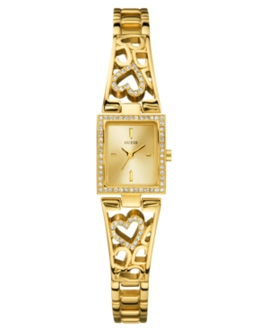 GUESS Watch, Women's Goldtone Crystal Accented Heart Bracelet 17mm U95081L1