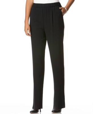 JM Collection Petite Pants, Pull On Straight Leg