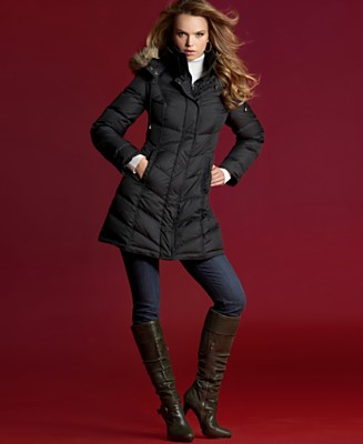INC International Concepts® Petite Puffer Coat with Imitation-Fur Hood - Petites - Women's - Macy's