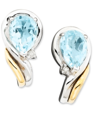 14k Gold & Sterling Silver Aquamarine (1-1/3 ct. t.w.) & Diamond Accent Earrings