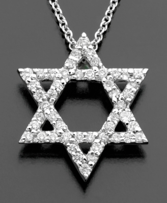14k White Gold Diamond Star Of David Pendant (1/4 ct. t.w.)