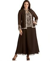 J Kara Plus Size Sleeveless Beaded-Bodice Gown