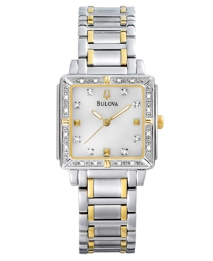 Bulova Watch, Women's Two Tone Stainless Steel Bracelet 25mm 98R112