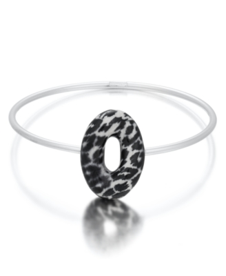 L'una Sterling Silver Jaguar-Print Enamel Signature Bangle Bracelet