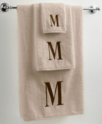"Avanti Bath Towels, Initial Linen and Brown 16"" x 30"" Hand Towel"