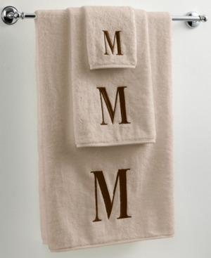 "Avanti Bath Towels, Initial Linen and Brown 12"" x 18"" Fingertip Towel"