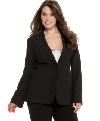 Calvin Klein Plus Size Jacket, One Button Luxe Stretch