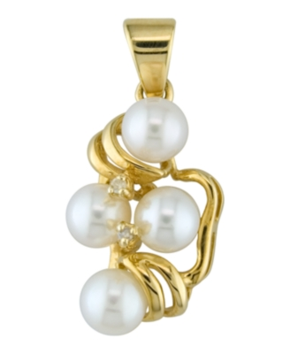 14k Gold Cultured Freshwater Pearl (5-6mm) & Diamond Accent Pendant