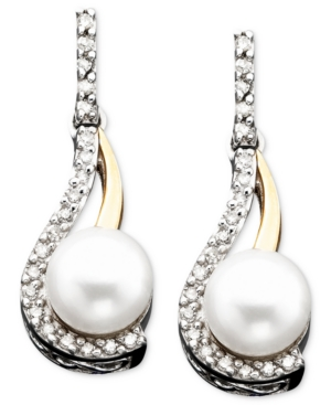14k Gold & Sterling Silver Cultured Freshwater Pearl & Diamond Accent Earrings