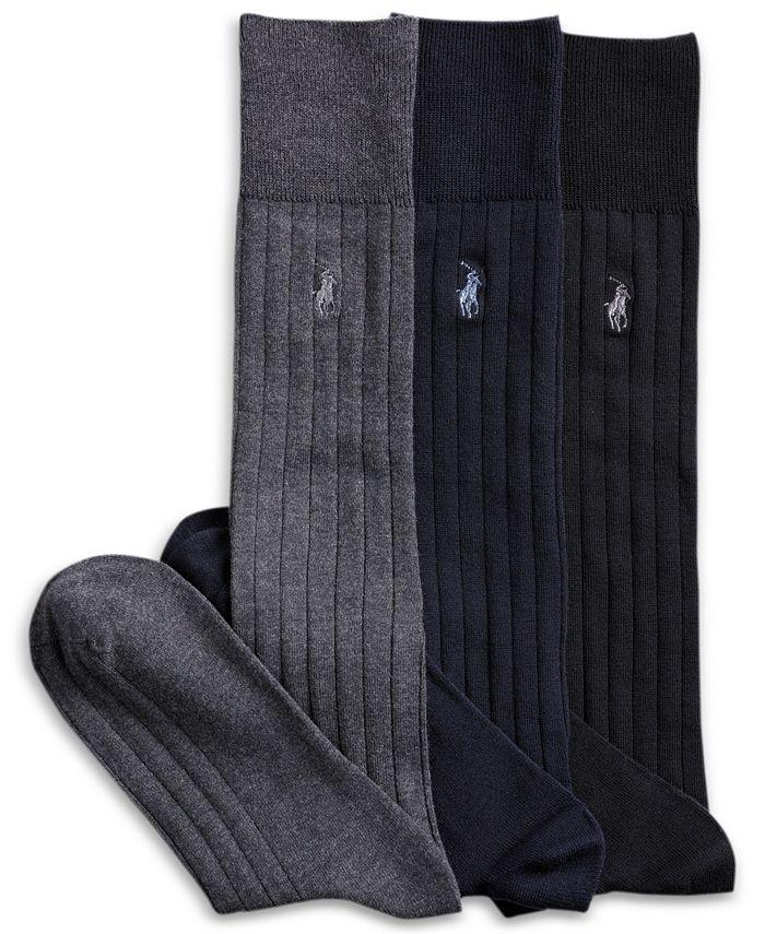 Polo Ralph Lauren - 3 Pack Over the Calf Dress Socks