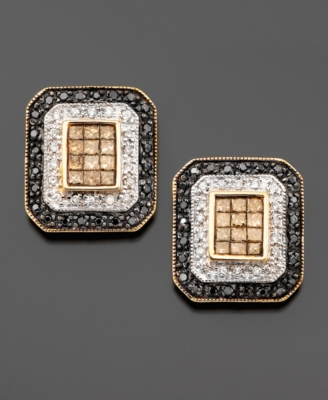 14k Gold Black, White, & Champagne Diamond Rectangle Earrings (1 ct. t.w.)