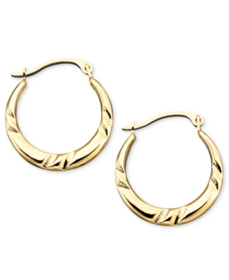 14k Gold Small Polished Pinched Hoop Earrings