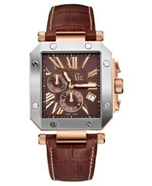 Gc Swiss Made Timepieces Watch, Men's Chronograph Brown Leather Strap G50001G1