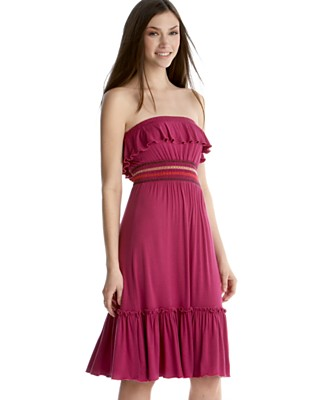 XOXO Strapless Smocked-Waist Knit Dress - Dresses - Juniors  - Macy's from macys.com