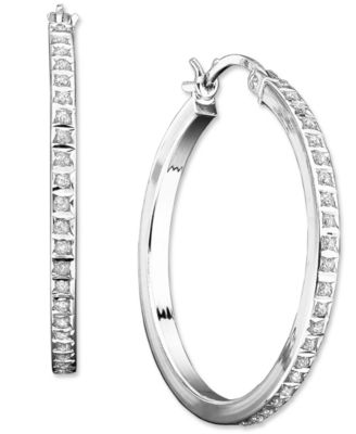 Sterling Silver Diamond Accent Round Hoop Earrings