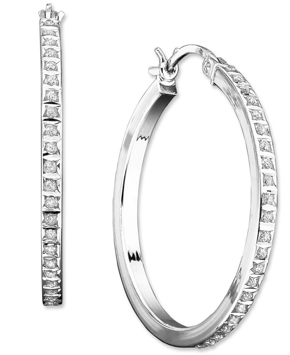 Sterling Silver Earrings, Diamond Accent Pear Shaped Hoop Earrings   Earrings   Jewelry & Watches