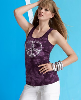 INC International Concepts® Tie-Dyed Peace Tank Top - Tops - Women's  - Macy's