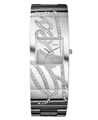 GUESS Watch, Women's Silvertone Mixed Metal Bracelet U13552L1