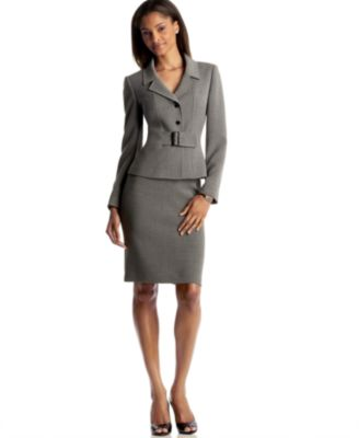 Tahari by ASL Belted Skirt Suit