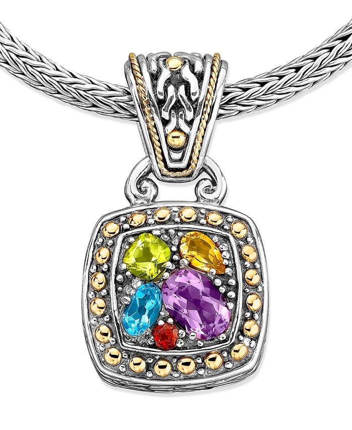 EFFY Collection - Multistone Square Pendant (1-5/8 ct. t.w.) in 18k Gold and Sterling Silver