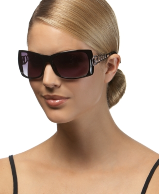 GUESS? Rectangle Sunglasses with Rhinestone Logo