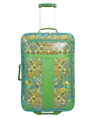"Double Dutch Suitcase, 24"" Green Paisley Upright"