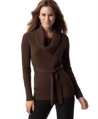 Pria Sweater, Cowl Neck with Belt