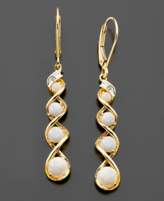14k Gold Earrings, Opal (1-1/10 ct. t.w.) and Diamond Accent Swirl Drop