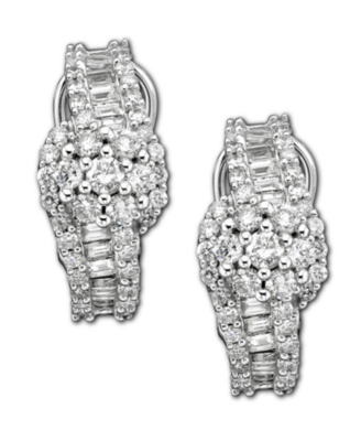 14k White Gold Earrings, Diamond Cluster (2 ct. t.w.)