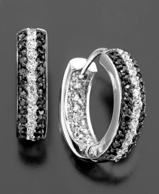 Sterling Silver Earrings, Black & White Cubic Zirconia Hoop (2-3/4 ct. t.w.)