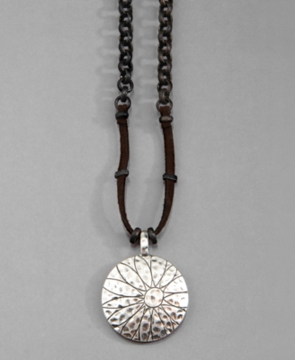 Lucky Brand Necklace, Silvertone Etched Daisy