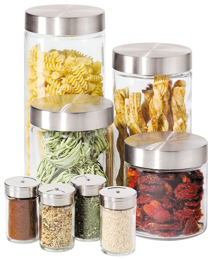 Oggi - Canisters & Spice Jars, Glass 8 Piece Set
