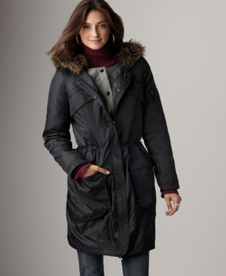 DKNY Jeans Coat, Oversized Nylon Two-in-One