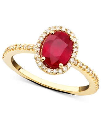 14k Gold Ring, Ruby (1-3/8 ct. t.w.) and Diamond (1/4 ct. t.w.)