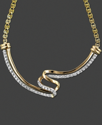 14k Gold Necklace, Diamond Swirl (1/5 ct. t.w.) - Gold Necklaces