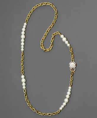 AK Anne Klein Necklace, Goldtone Chain and Glass Pearl