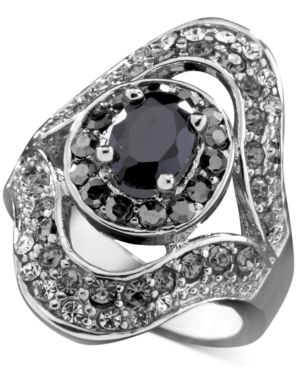 GUESS Ring, Jet Stone and Crystal Accent