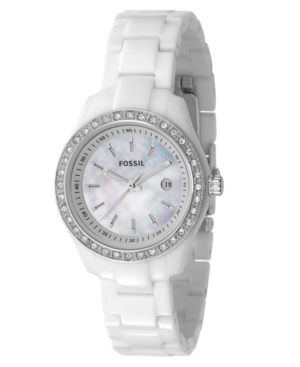 Fossil Watch Womens Mini Stella White Resin Bracelet with Crystals 30MM ES2437