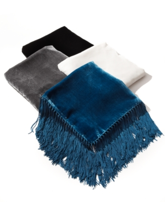 Echo Scarf, Velvet Satin Triangle with Fringe