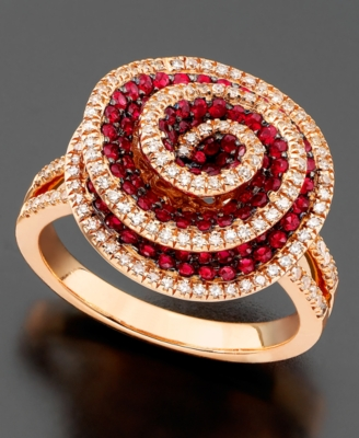 14k Rose Gold Ring, Ruby (1-1/3 ct. t.w.) and Diamond (1/3 ct. t.w.)